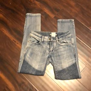 Free Style size 3 Moto stretchy, tight blue jeans